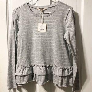 Free Generation LA Gray & White Ruffled Sweater